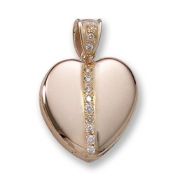 Solid 14k Premium Weight Yellow Gold Heart with Diamonds Picture Locket