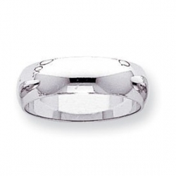 14k White Gold 6mm Half Round Wedding Band