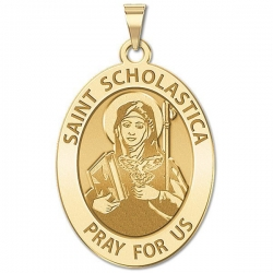 Saint Scholastica Religious Medal  OVAL  EXCLUSIVE