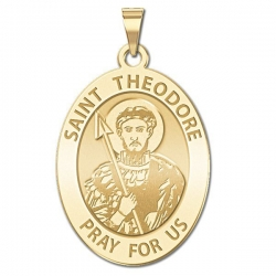 Saint Theodore   Oval Religious Medal  EXCLUSIVE