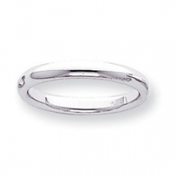14k White Gold 3mm Comfort Fit Light Weight Wedding Band