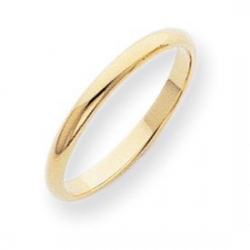 14k Yellow Gold 2mm Half Round Wedding Band