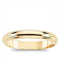 14k Yellow Gold 3mm Half Round Wedding Band