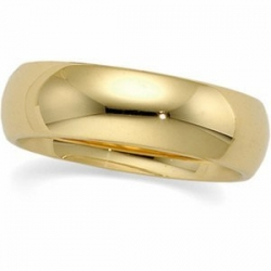 14k Yellow Gold 6mm Half Round LightWeight Wedding Band