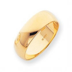 14k Yellow Gold 7mm Half Round LightWeight Wedding Band