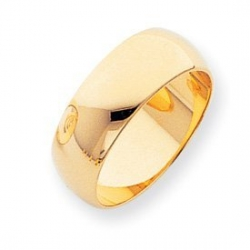 14k Yellow Gold 8mm Half Round LightWeight Wedding Band