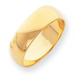 14k Yellow Gold 7mm Comfort Fit Light Weight Wedding Band