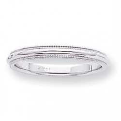 14k White Gold 3mm Milgrain Wedding Band