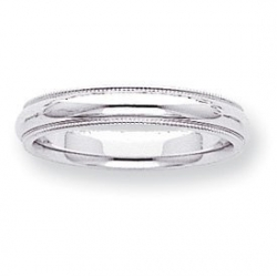 14k White Gold 4mm Milgrain Wedding Band