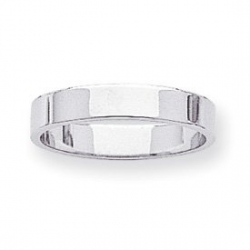 14k White Gold 4mm Flat Wedding Band