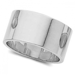 14k White Gold 8mm Flat Wedding Band