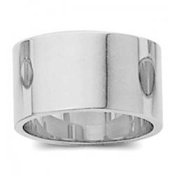 14k White Gold 10mm Flat Wedding Band