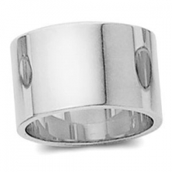 14k White Gold 12mm Flat Wedding Band