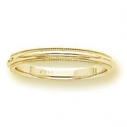 14k Yellow Gold 3mm Milgrain Wedding Band