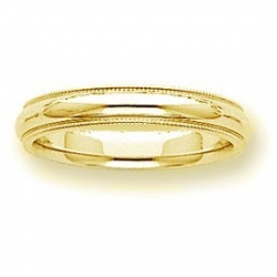 14k Yellow Gold 4mm Milgrain Wedding Band