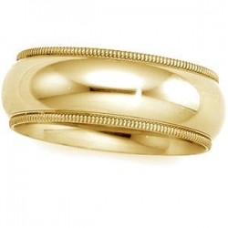 14k Yellow Gold 6mm Milgrain Wedding Band