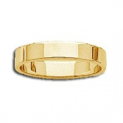 14k Yellow Gold 4mm Flat Wedding Band