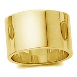 14k Yellow Gold 12mm Flat Wedding Band