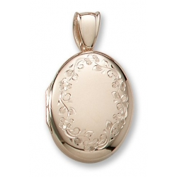 18k Premium Weight Yellow Gold Oval Picture Locket Jewelry