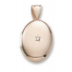 18k Premium Weight Yellow Gold Oval w  Center Diamond Locket