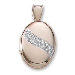 18k Premium Weight Yellow Gold w  Diamond Sash Oval Locket