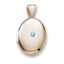 18k Premium Weight Yellow Gold Oval Locket w  5 pt  Diamond