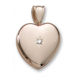 18k Premium Weight Yellow Gold Heart Picture w  7pt  Diamond Locket