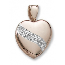18k Premium Weight Yellow Gold Heart Diamond Sash Heart Locket