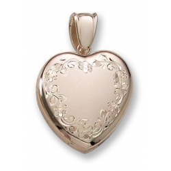 18k Premium Weight Yellow Gold Hand Engraved Heart Picture Locket
