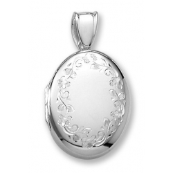 18k Premium Weight White Gold Oval Picture Locket Jewelry