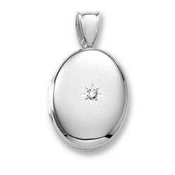 18k Premium Weight White Gold Oval w  Center Diamond Locket