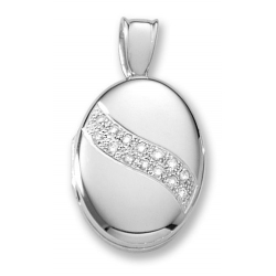 18k Premium Weight White Gold w  Diamond Sash Oval Locket