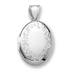 18k Premium Weight White Gold Oval Locket