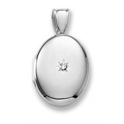 18k Premium Weight White Gold Oval Locket w  5 pt  Diamond