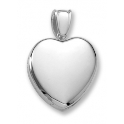 18k Premium Weight White Gold Heart Picture Locket