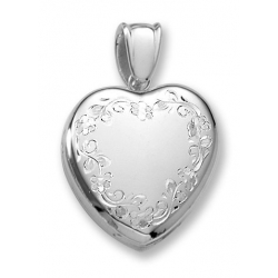 18k Premium Weight Hand Engraved White Gold Heart Picture Locket