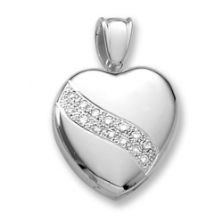 18k Premium Weight White Gold Heart Diamond Sash Heart Locket