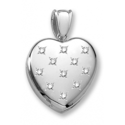 18k Premium Weight White Gold Diamond Heart Locket
