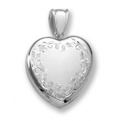 18k Premium Weight White Gold Hand Engraved Heart Picture Locket