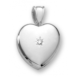 18k Premium Weight White Gold Heart Picture Locket w  5pt  Diamond