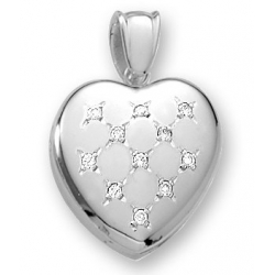 18k Premium Weight White Gold Diamond Heart Picture Locket