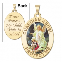 Guardian Angel  School Protect  Double Sided Medal   Color EXCLUSIVE