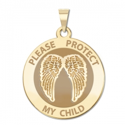 Guardian Angel  Protect My Child  Double Wing Medal   EXCLUSIVE