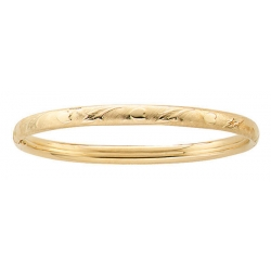 14k Gold Filled Teen s  Leaves and Hearts  Bangle Bracelet