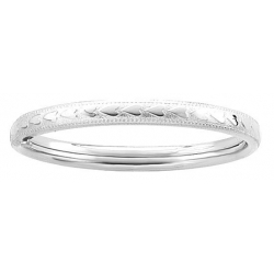 Sterling Silver Infant s  Milgrain   Heart  Bangle Bracelet