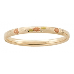 14k Tri Colored Gold Filled 5 1 4 In Children s Floral Bangle Bracelet