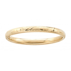 14k Gold Filled 5 1 4 Inch Children s  Heart and Leaf  Bangle Bracelet