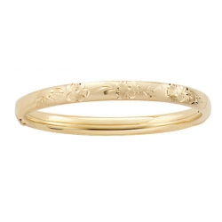 14k Gold Filled 5 1 4 Inch Children s  Floral  Bangle Bracelet