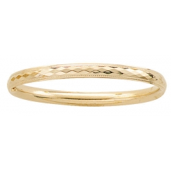 14k Gold Filled 5 1 4 Inch Children s  Diamond Cut  Bangle Bracelet