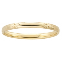 14k Gold Filled 5 1 4 In Kids Engraveable  Floral  Bangle Bracelet